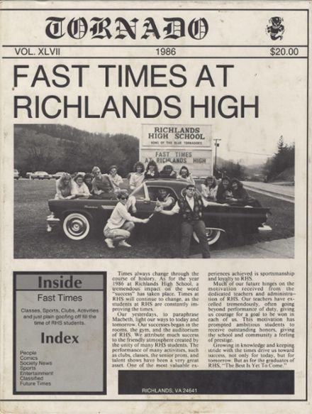 1986 Richlands High School Yearbook Cover