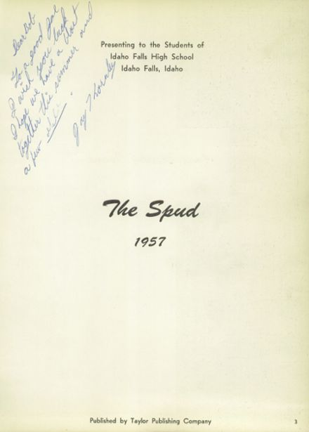 ... 1957 Idaho Falls High School Yearbook Page 7