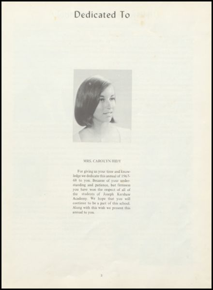 1968 Joseph Kershaw Academy Yearbook Page 5