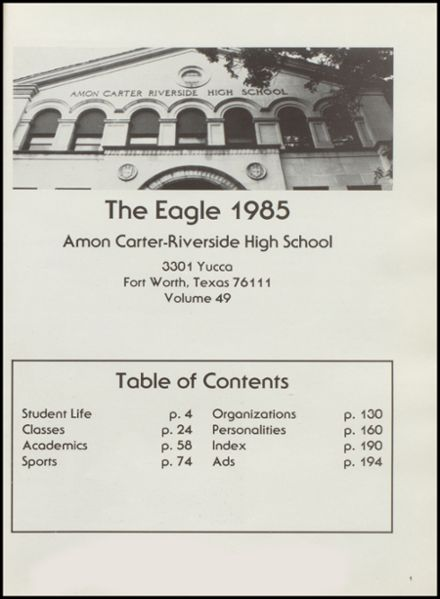 1985 Carter-Riverside High School Yearbook Page 5