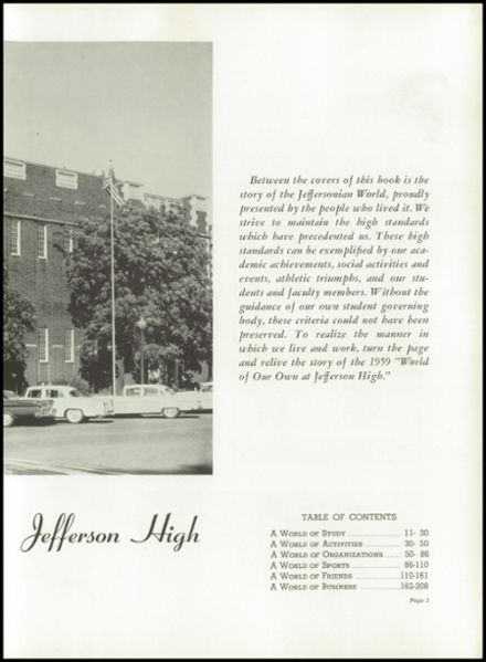 1959 Jefferson High School Yearbook Page 9