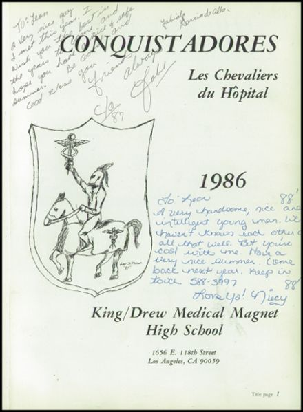 1986 King-Drew Medical Magnet High School Yearbook Page 5
