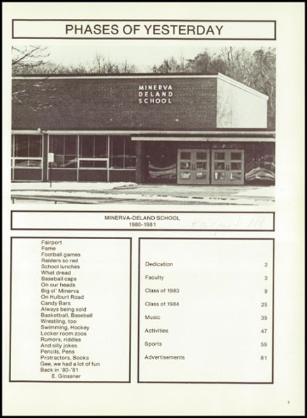 1981 Minerva-Deland High School Yearbook Page 5