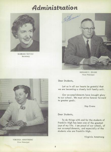 1959 Franklin High School Yearbook Page 9