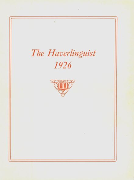 1926 Haverling High School Yearbook Cover