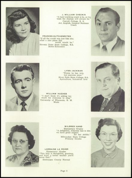 1952 Random Lake High School Yearbook Page 9
