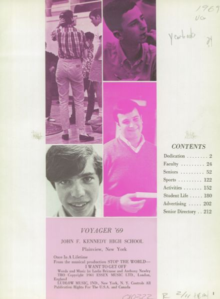 1969 Plainview-Old Bethpage John F. Kennedy High School Yearbook Page 5
