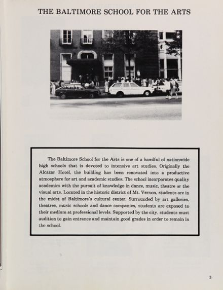1988 Baltimore School for the Arts 415 Yearbook Page 7