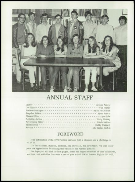1972 Putnam High School Yearbook Page 6