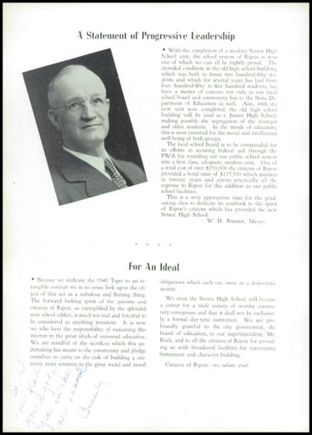 1940 Ripon High School Yearbook Page 6