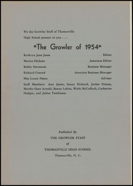 1954 Thomasville High School Yearbook Page 4