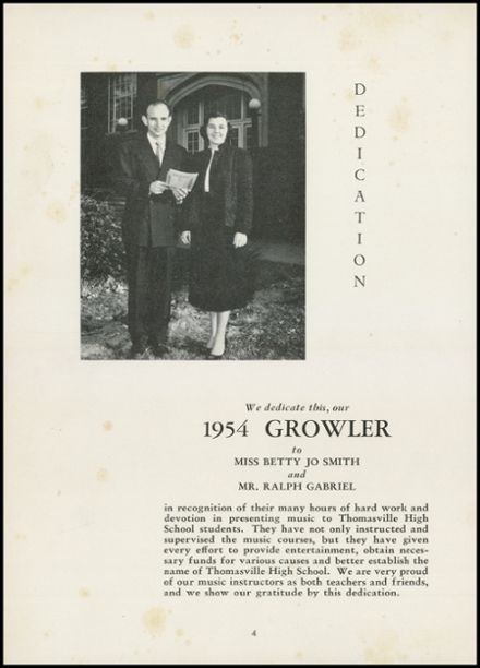 1954 Thomasville High School Yearbook Page 8