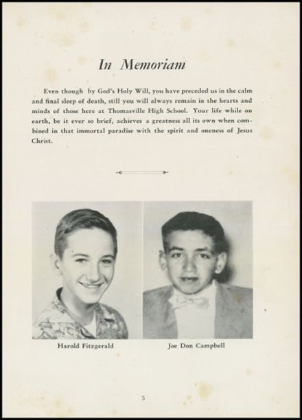 1954 Thomasville High School Yearbook Page 9