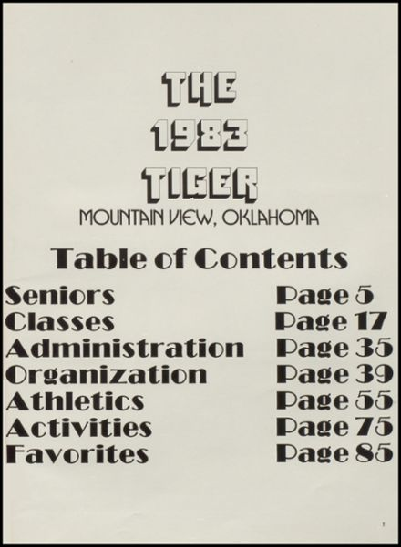 1983 Mountain View-Gotebo High School Yearbook Page 5