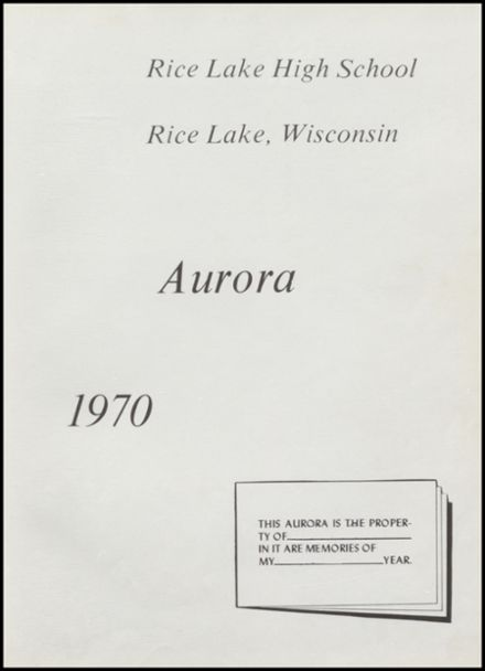 1970 Rice Lake High School Yearbook Page 5