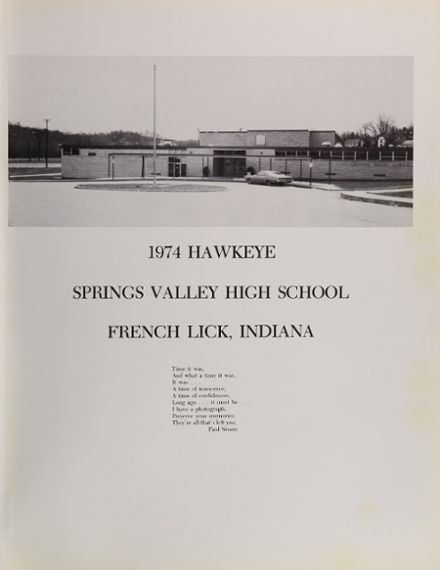 1974 Springs Valley High School Yearbook Page 5