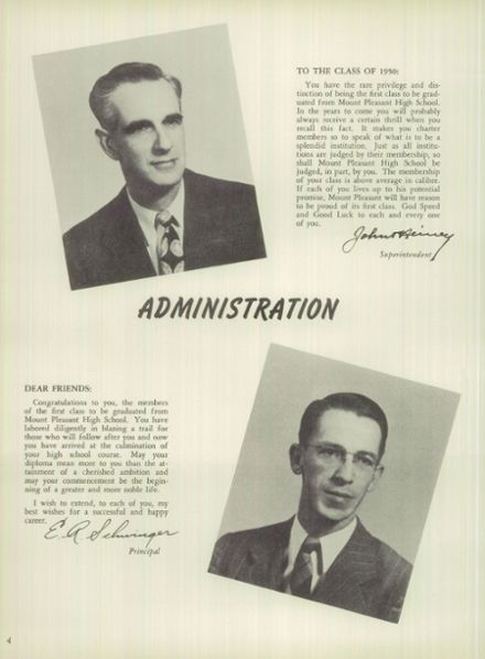 1950 Mt. Pleasant High School Yearbook Page 4
