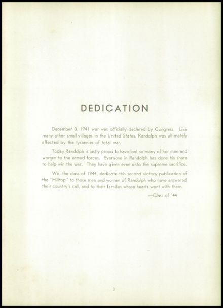 1944 Randolph High School Yearbook Page 7