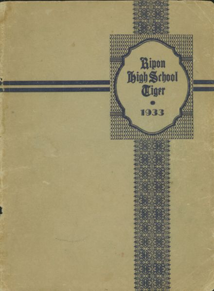 1933 Ripon High School Yearbook Page 1