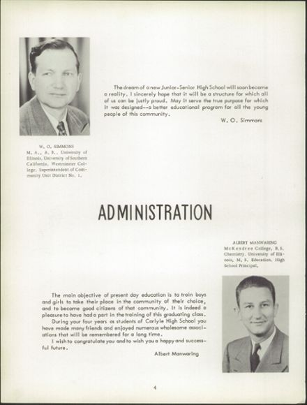 1952 Carlyle High School Yearbook Page 8
