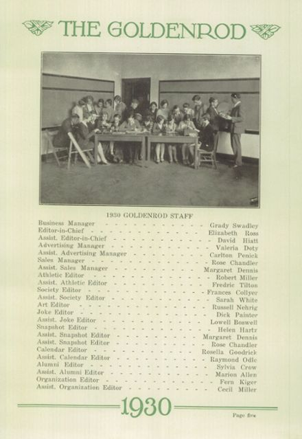 1930 Williamsport High School Yearbook Page 9