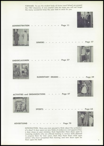 1961 Union High School Yearbook Page 7