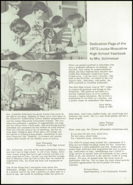 1973 Louisa-Muscatine High School Yearbook Page 9