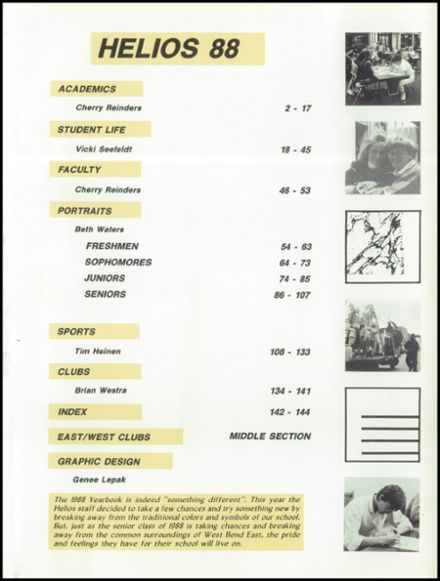 1988 West Bend High School Yearbook Page 5