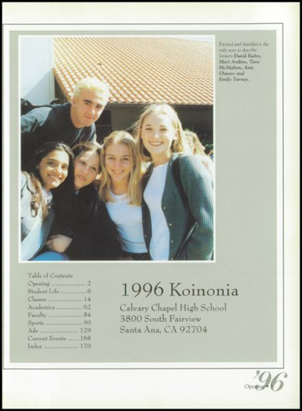 1996 Calvary Chapel School Yearbook Page 5