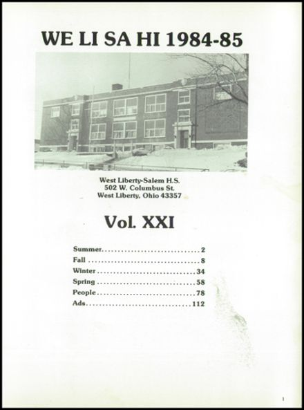 1985 West Liberty-Salem High School Yearbook Page 5