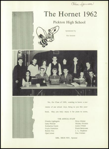1962 Pickton High School Yearbook Page 5