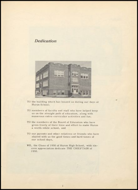 1950 Huron Consolidated High School Yearbook Page 5