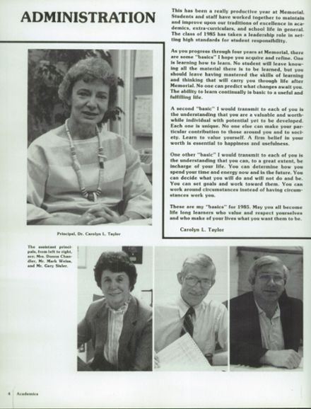 1985 James Madison Memorial High School Yearbook Page 8