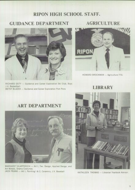 1982 Ripon High School Yearbook Page 9
