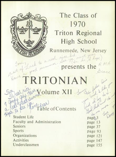 1970 Triton Regional High School Yearbook Page 5