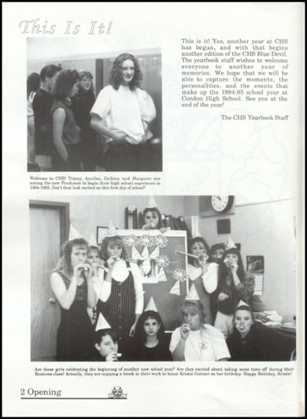 1995 Condon High School Yearbook Page 6