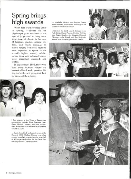 1986 Vernon High School Yearbook Page 8