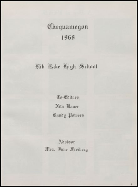 1968 Rib Lake High School Yearbook Page 5