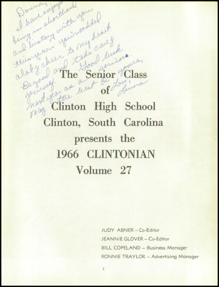 1966 Clinton High School Yearbook Page 5