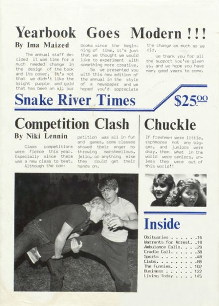 1986 Snake River High School Yearbook Cover