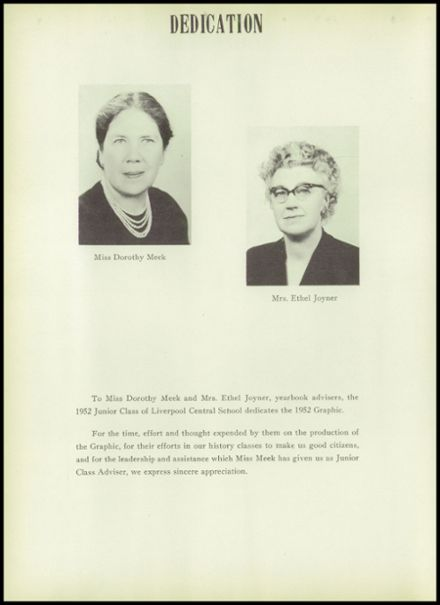 1952 Liverpool High School Yearbook Page 8