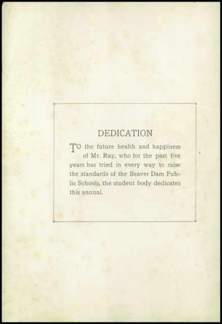 1922 Beaver Dam High School Yearbook Page 4