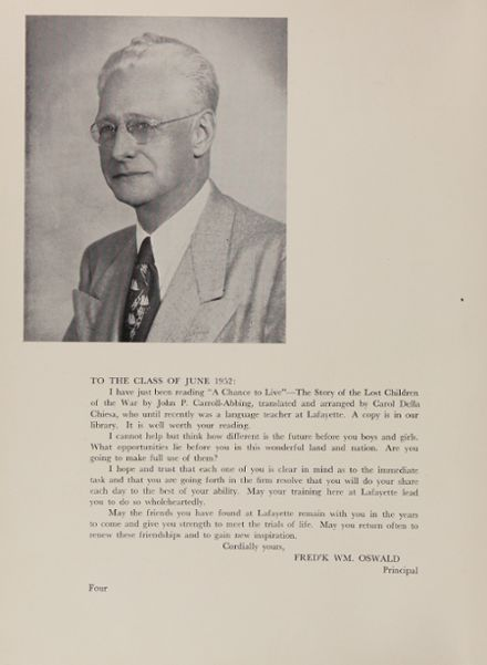 1952 Lafayette High School 400 Yearbook Page 8
