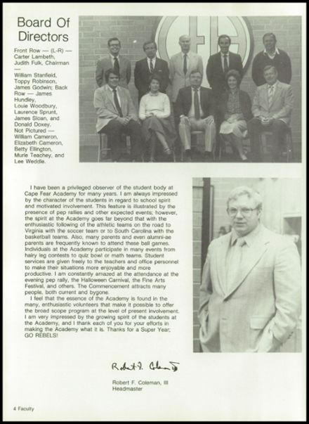 1982 Cape Fear Academy Yearbook Page 8