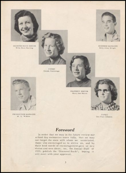 1955 Leftwich High School Yearbook Page 9