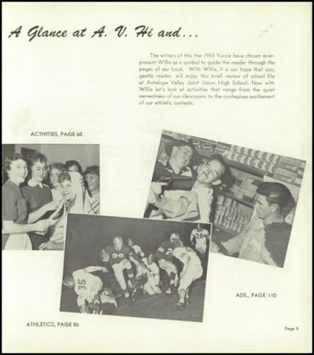 1953 Antelope Valley High School Yearbook Page 9