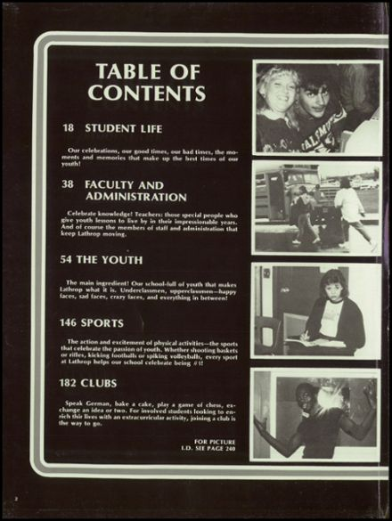 1986 Lathrop High School Yearbook Page 6