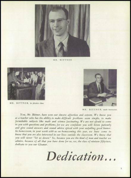 1952 Reedsburg High School Yearbook Page 7