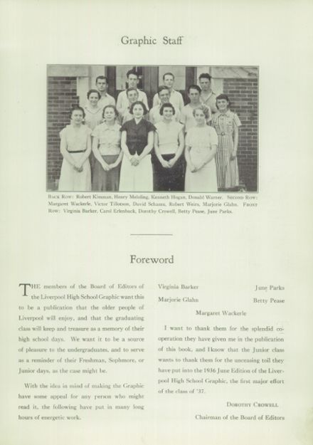 1936 Liverpool High School Yearbook Page 5