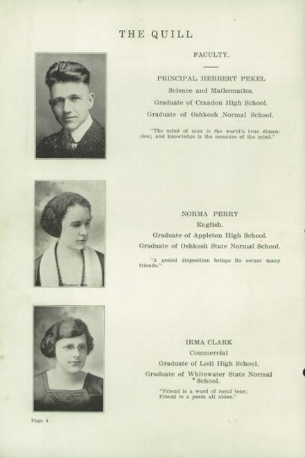 1922 Reeseville High School Yearbook Page 6